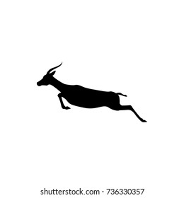 Vector jump antelope silhouette view side for retro logos, emblems, badges, labels template vintage design element. Isolated on white background