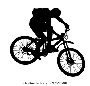 vector jump with a mountain bike - silhouette