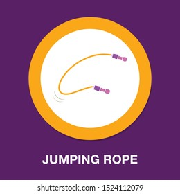 vector jumping Rope illustration, sport fitness symbol - training exercise icon