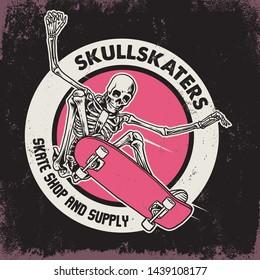 vector of jumping skull riding skateboard