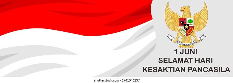 Vector June 1, Hari Kesaktian Pancasila (Translation: June 1, Pancasila Sanctity Day). Suitable for greeting cards and banners.