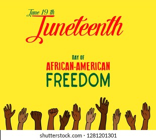 Vector - Juneteenth, African-American Independence Day, June 19. Day of freedom and emancipation. Yellow banner with seamless border, raised hand of celebrating people