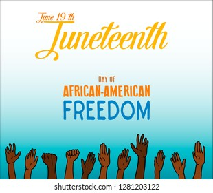 Vector - Juneteenth, African-American Independence Day, June 19. Day of freedom and emancipation. Banner with seamless border, raised hand of celebrating people
