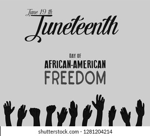 Vector - Juneteenth, African-American Independence Day, June 19. Day of freedom and emancipation.black and white banner with seamless border, raised hand of celebrating people