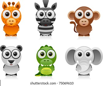 vector jungle animals cartoon set 1