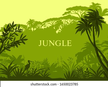 Vector jungle background with palm trees, exotic flora, stork outline and copy space. Green stock rainforest banner with silhouettes of tropical plants. Amazonian misty landscape.