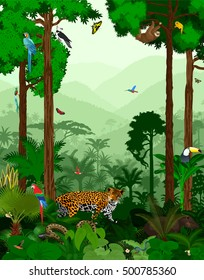 Vector Jungle Rainforest with different animals