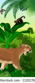Vector Jungle rainforest vertical baner with puma cougar (Puma concolor) or mountain lion,  ape monkey capuchin and morpho butterfly