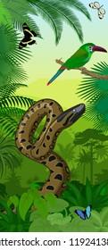Vector Jungle rainforest vertical baner with Green anaconda, Crimson-rumped toucanet and tropical butterflies