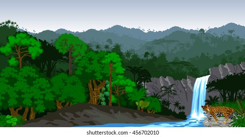 Vector Jungle Rainforest with waterfall and jaguar