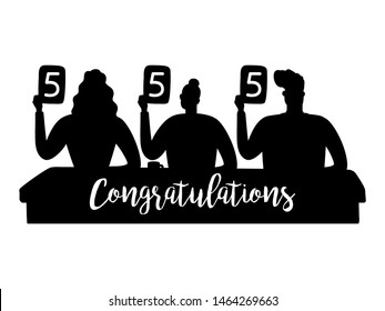 Vector jury silhouettes gave the highest marks illustration. Judging silhouette and sign congratulations. Jury competition, judge holding score