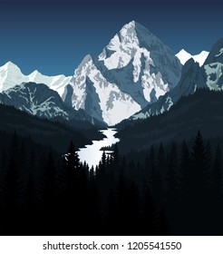 vector K2 mountain with river in woodland