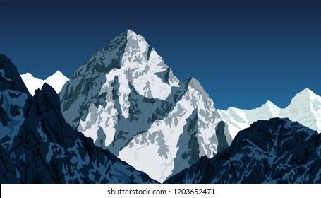 vector K2 - second highest mountain in the world. Karakorum, Pakistan
