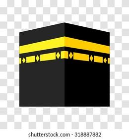 vector. kaaba, mekka  isolated.