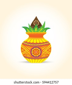 Vector Kalash Illustration with coconut & Mango Leaf