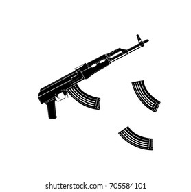 Vector kalashnikov assault rifle icon on white background