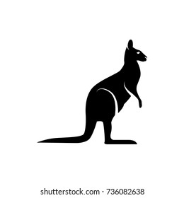 Vector kangaroo silhouette view side for retro logos, emblems, badges, labels template vintage design element. Isolated on white background