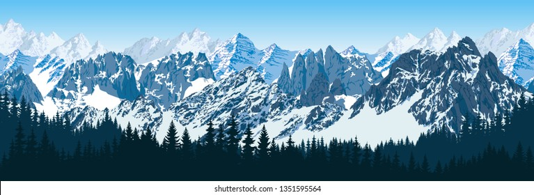 vector karakoram himalayan mountains   with forest panorama