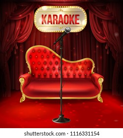 Vector karaoke concept. Red velvet sofa with gilded legs and black microphone for poster, banner of musical evening, event. Illuminated signboard and red curtains as background.