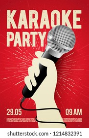 Vector karaoke party flyer banner poster design template with hand holding microphone and inscription background with grunge style