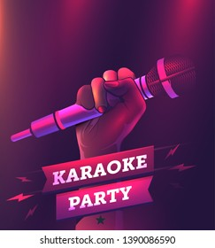 Vector karaoke party flyer or banner or poster design template with hand holding microphone. Realistic vector illustration.