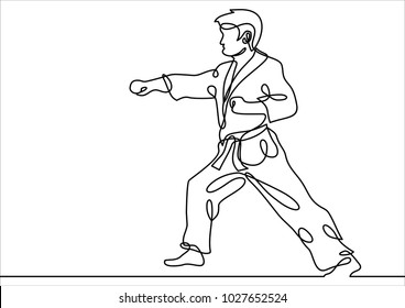 Vector karate -continuous line drawing