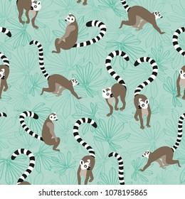 Vector katta lemur seamless repeating pattern background with light maniok leaves. Perfect for fabrics, apparel, wallpaper, gift wrap, scrapbooking projects.