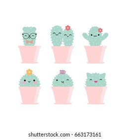 Vector kawaii cactuses with funny faces in pink pots