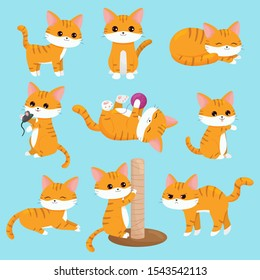 Vector kawaii cats set in different situations. Ginger kittens. Cartoon characters.