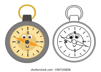 Vector kawaii compass colored and black and white illustration. Camping or hiking equipment picture for kids. Orienteering device for forest tourism or travelling. Cute coloring page