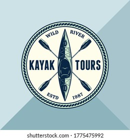 Vector kayak adventures, camp or club round logo with paddles and boat. Water sport, kayaking, canoeing, rafting badge design concept
