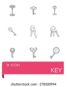 Vector Key icon set on grey background