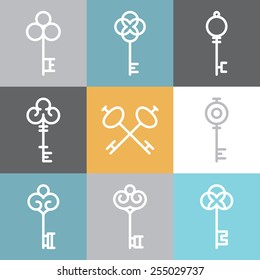 Vector key logos and signs in linear style - abstract design elements