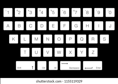 Vector Keyboard Computer Letter Keys Isolated Stock Vector Royalty