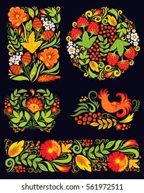 Vector khokhloma pattern design.