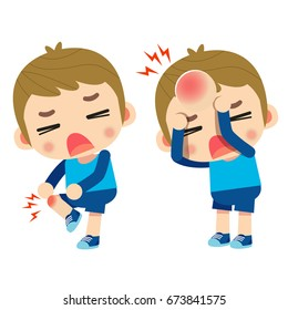 Vector kid, boy character got injured, got bruised on his knee and head isolated on white background.