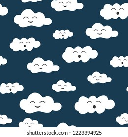 Vector kid seamless pattern with smile cloud on dark blue background. Baby concept. texture can be used for wrapping paper, print, textile, fabric, t-shirt, book cover, wallpaper. cute style