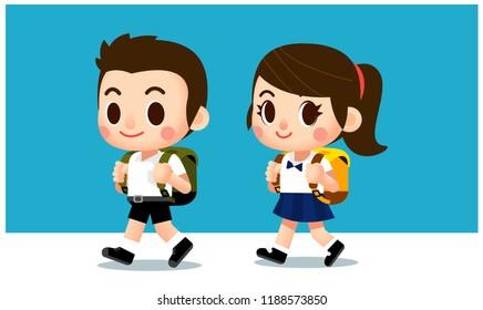 Vector kids, boy and girl go to school