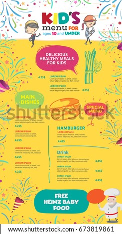 vector kids menu template stock vector royalty free 673819861