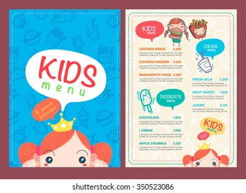 vector kids menu template and hand draw symbol and icon.