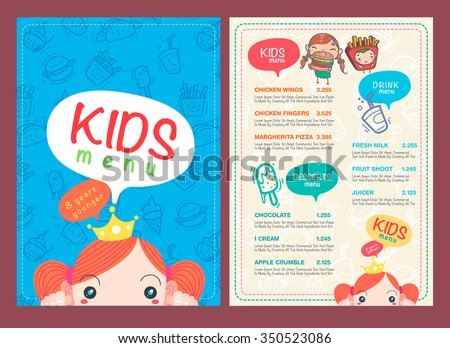 Vector kids menu template hand draw stock vector royalty free vector kids menu template and hand draw symbol and icon maxwellsz