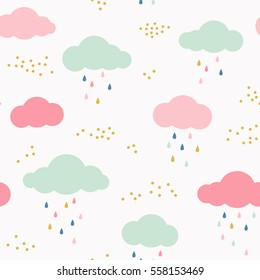 Vector kids pattern with clouds, rain drops and dots. Cute scandinavian seamless background in mint, pink, yellow and gray.