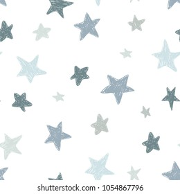 Vector kids pattern with doodle textured stars. Vector seamless background, black, gray, white, scandinavian style,