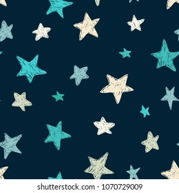 Vector kids pattern with doodle textured stars. Vector seamless background, blue, gray, white, scandinavian style,