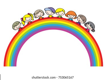 vector kids with rainbow background