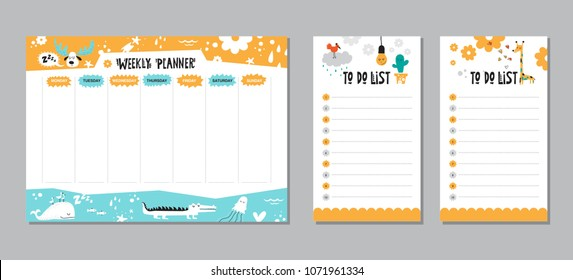 Vector kids schedule with cartoon animals and cute elements.  Weekly planner. Cute list. Moose, whale, jellyfish, crocodile, stars, fish, hearts, giraffe. To do list. Verctor illustration