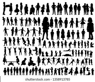 vector, kids silhouettes collection