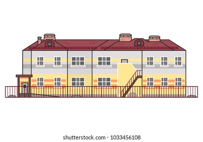 Vector kindergarten, school, yard, outdoor. Flat build with fence. Colorful building with red roof isolated on white background.