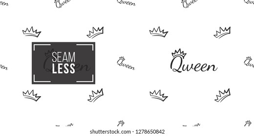 Vector king crown and queen inscription seamless pattern background. Black outline hand drawn crown illustrations. Simple fashionable backdrop for invitation and wedding decoration design.