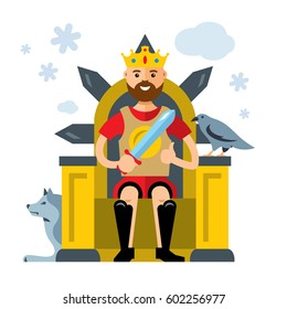 Vector King on Throne. Flat style colorful Cartoon illustration.